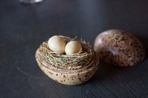 Quail Eggs Smoked Over Hay