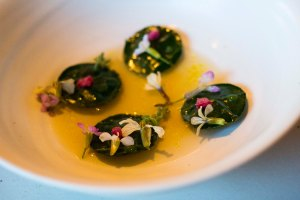 Nasturtiums filled with Danish shrimp in a Burdock Broth with edible flowers