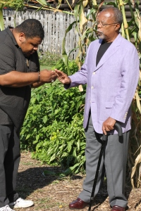 Talking tobacco seeds with Dr. Henry Louis Gates, Jr. Historic Londontown, Edgewater, Maryland